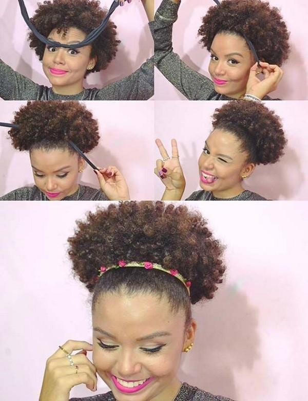 penteados cabelos cacheados black power afro-puff